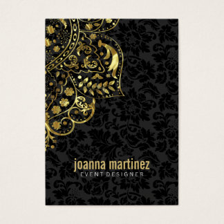 Gold Floral Lace & Black Damasks Background Business Card