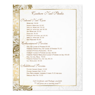 Gold Floral Lace With White Background Flyer Design