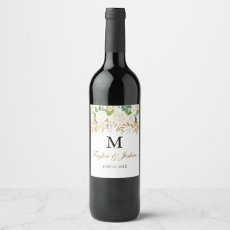 Gold Floral Leaf Monogram Wedding Wine Label