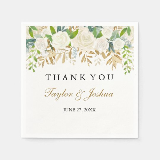 Gold Floral Leaf Watercolor Wedding Napkin Disposable Napkins