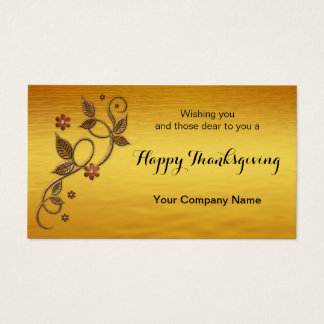 Gold Floral Leaves Thanksgiving Business Card