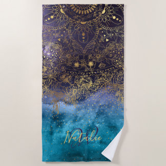 Gold floral mandala and confetti image beach towel
