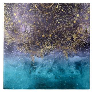 Gold floral mandala and confetti image tile