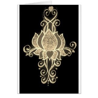 gold floral mehndi greeting card