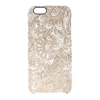 Gold Floral Mehndi Henna Clear Clear iPhone 6/6S Case