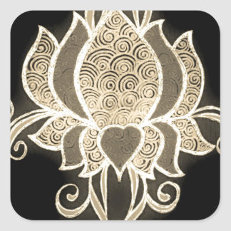 gold floral mehndi square sticker