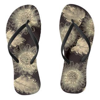 Gold Floral Motif Flip Flops