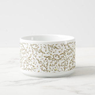 Gold Floral Music Pattern On White or Any Color Chili Bowl