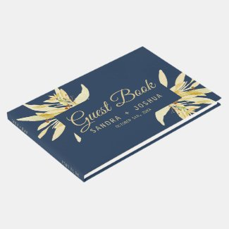 Gold floral - Navy blue Wedding Guest Book