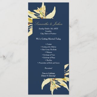 Gold floral - Navy blue Wedding program