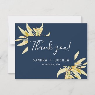 Gold Floral Navy BlueThank you wedding flat card