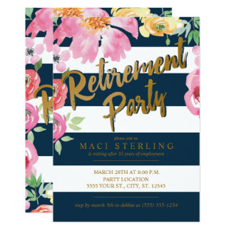 Gold, Floral & Navy Retirement Party Invitations