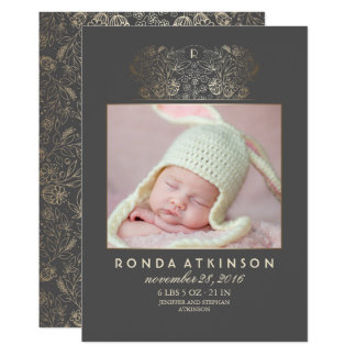 Gold Floral Newborn Baby Photo Birth Announcement
