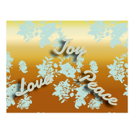 Gold Floral Pattern Joy Love Peace Holiday Post Card
