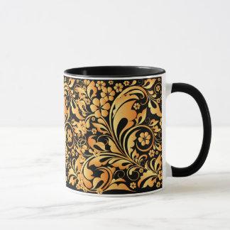 gold floral pattern mug