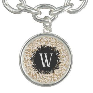 Gold Floral Pattern with Dark Gray Circle Monogram Bracelet