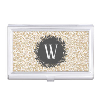 Gold Floral Pattern with Dark Gray Circle Monogram Business Card Holder