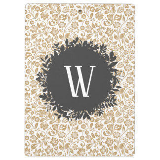 Gold Floral Pattern with Dark Gray Circle Monogram Clipboard