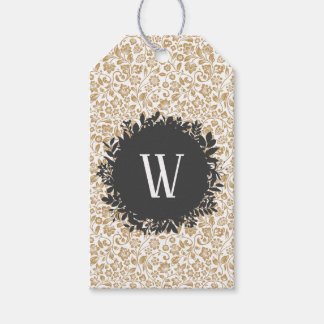 Gold Floral Pattern with Dark Gray Circle Monogram Gift Tags
