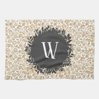 Gold Floral Pattern with Dark Gray Circle Monogram Kitchen Towel
