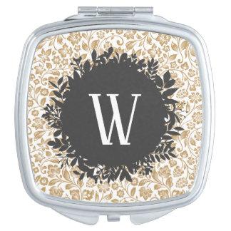 Gold Floral Pattern with Dark Gray Circle Monogram Makeup Mirrors