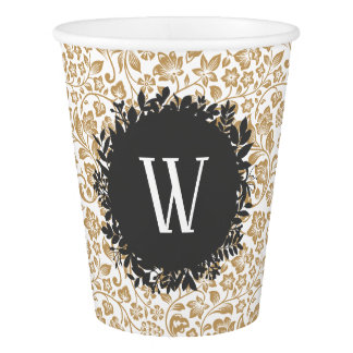 Gold Floral Pattern with Dark Gray Circle Monogram Paper Cup