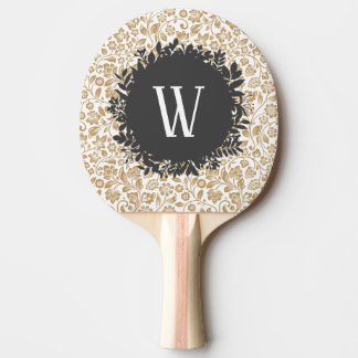 Gold Floral Pattern with Dark Gray Circle Monogram Ping Pong Paddle