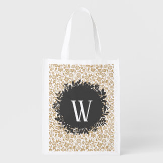 Gold Floral Pattern with Dark Gray Circle Monogram Reusable Grocery Bag