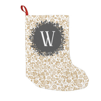 Gold Floral Pattern with Dark Gray Circle Monogram Small Christmas Stocking