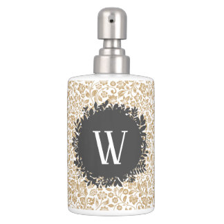 Gold Floral Pattern with Dark Gray Circle Monogram Soap Dispenser And Toothbrush Holder