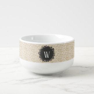 Gold Floral Pattern with Dark Gray Circle Monogram Soup Mug
