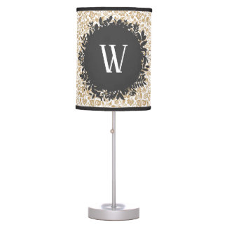 Gold Floral Pattern with Dark Gray Circle Monogram Table Lamp