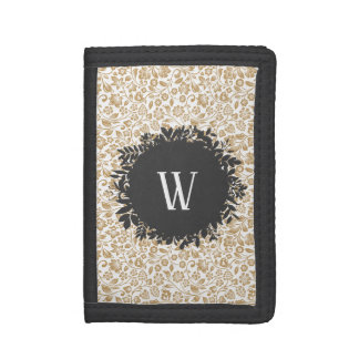 Gold Floral Pattern with Dark Gray Circle Monogram Trifold Wallets