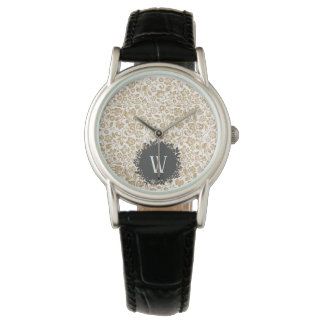 Gold Floral Pattern with Dark Gray Circle Monogram Watch