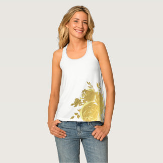 Gold Floral Roses Glam Botanical Modern Chic Tank Top