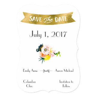 Gold & Floral Save The Date Card