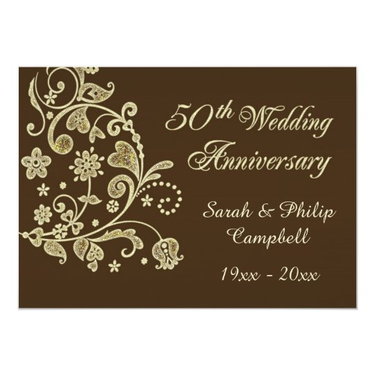 Gold floral swirls, hearts 50 Wedding Anniversary Card