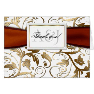 Gold Floral Thank You Card with Orange Bow