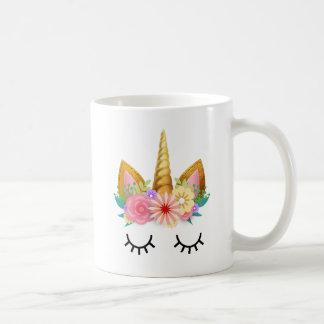 Gold Floral Unicorn Party Coffee Mug