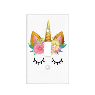Gold Floral Unicorn Party Light Switch Cover