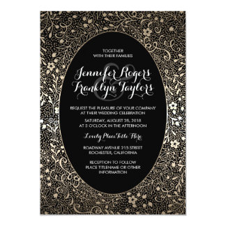 Gold Floral Vintage Black Wedding Invitations