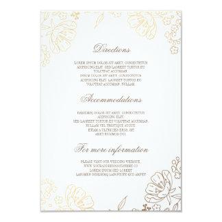 """Gold Floral Vintage Wedding Information Details 3.5"""" X 5"""" Invitation Card"""