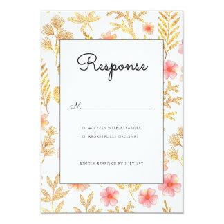 Gold Floral wedding invitation rsvp card