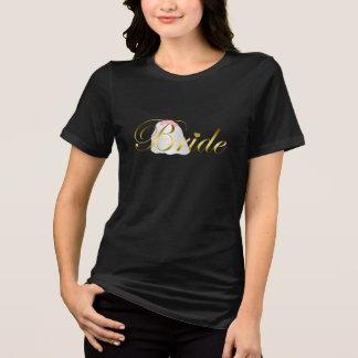 "Gold Floral Wedding Veil ""Bride"" Shirt"