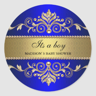 Gold Flourish Blue Elegant Baby Shower Its A Boy Classic Round Sticker
