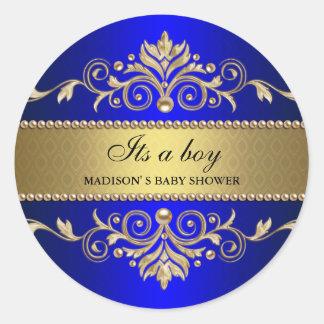 Gold Flourish Blue Elegant Baby Shower Its A Boy Round Sticker