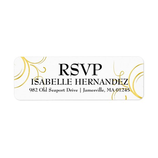 Gold Flourish on White RSVP Return Address Labels
