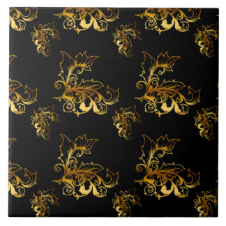 Gold Flourishes on Black Tile