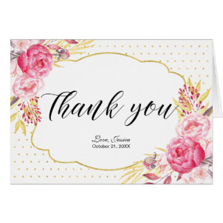 Gold Flower Bridal Tea Party Thank you note card