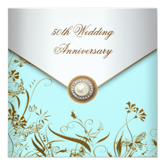 "Gold Flower Pearl Teal 50th Wedding Anniversary 5.25"" Square Invitation Card"